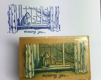 Vintage Disney Classic Winnie the Pooh Missing You All Night Media 736F Wood Mounted Rubber Stamp