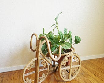 Vintage Bamboo Rattan Tricycle Planter Display