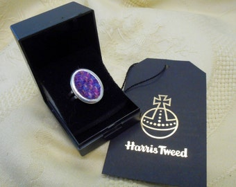Harris Tweed ring pink and purple adjustable silver plated Scottish made in Scotland accessories womens statement jewellery christmas gift