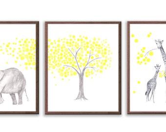 Giraffe Nursery Art, Yellow and Gray Nursery Art, Elephant Nursery Decor, Watercolor Nursery art, New Baby Gift, Set of 3 Prints - S032W