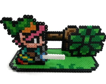 Legend of Zelda Link to the Past Nintendo Perler Bead Sprite 3D Scene Collage Figure