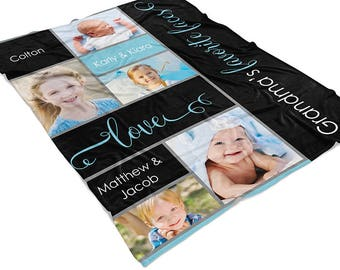 Personalized Photo Blanket, Grandma Family Photo Blanket, Grandparents Fleece Throw, Nana Blanket, Mothers Day Gifts. Photo Collage Blanket