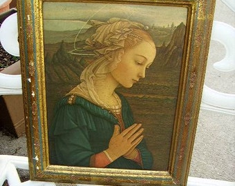 Vintage Italian Florentine Picture Frame with Lady Litho