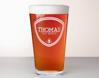 Custom Beer Glass, Engraved Pint Glass - Willamette