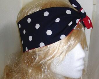 Vintage 50s Reversible Polka Dot Head Scarf - Red Blue Hair Tie - 1950s