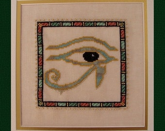 "Ancient Egyptian Cross Stitch Instant Download Pattern ""Protection""  Counted Embroidery. X Stitch. Horus Eye. Wadjet Eye. DIY Home Decor."