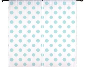 Chiffon Curtains - Teen Curtains - Bedroom Curtains - Sheer Curtains - Dorm Room Curtains - Girls Curtains - Teen Decor - Aqua - Polka Dots