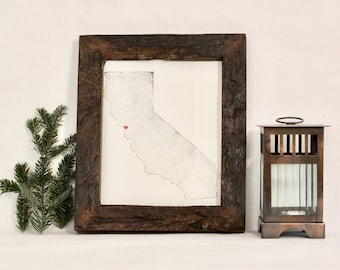 "California State Map Print / 8"" x 10"" / Unframed / Custom / Travel / Art / Chic / Modern / Rustic / Heart / Love / Home / Wedding / Gift"