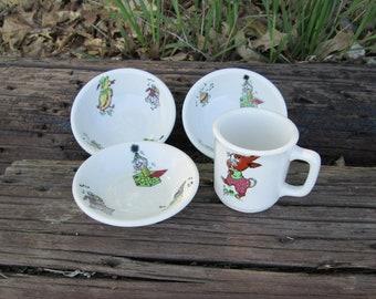 Mayer China Toyland Pattern Childrens Dinnerware Bowls Mug Cup Set Restaurant Ware Vintage Baby Made in USA