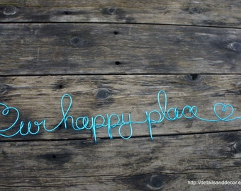 Our Happy Place Sign, Cozy Home Decor With Heart Details
