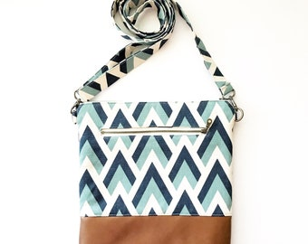 TALL MOMMA Crossbody Bag - Navy blue Peaks - Wallet Clutch - Purse - Handbag - Small handbag - All In One - Aztec - Tribal