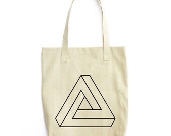 Penrose Triangle Illusion art tote bag