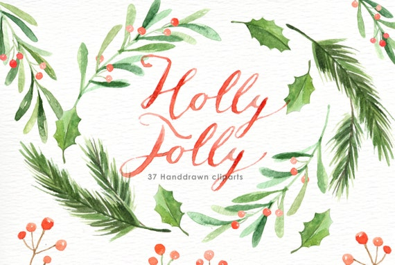 holly jolly watercolor christmas clipart holiday winter set