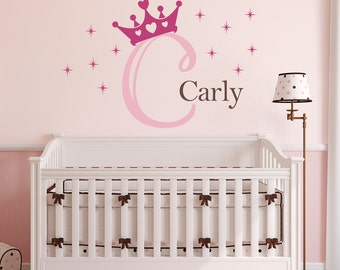 Initial & Name Wall Decal with Princess Crown - Personalized Girl Decal - Crown Wall Art - Large