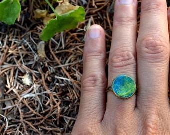 Gift idea, tiny Bohemian ring, boho wool ring, felt ring, gipsy ring, gift idea, artistic ring, handmade jewelry, winter ring,unique jewelry