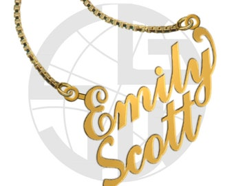 Gold Plated Handmade Personalised Name Necklace with ANY TWO Names in English of your choice