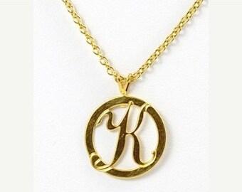 K  Initial Necklace, Initial Necklace, K Necklace