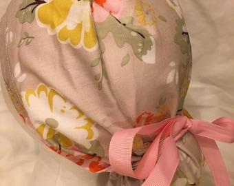Flower ponytail holder scrub hat