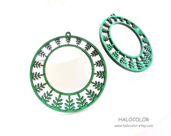 Dyeing Series - 6 Pcs 55 x  58mm Variety of Colors Filigree Round Leaf Wood Dangle/ Wooden Charm/Pendant NM411