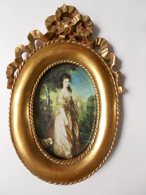 Cuadro ovalado Vintage marco oro dorado, estilo florentino, país ...