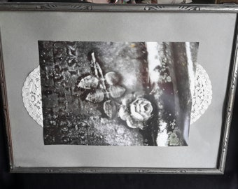 HANDMADE Framed Photograph of a Rose on a Tombstone w/ Lace matting