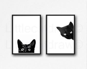 Black Cat Print Set Of 2 Black Cat Art Prints Cat Art Wall Decor Cat Lover Gift Pet Moms Living Room Decor Wall Cat Decor Watercolor Print
