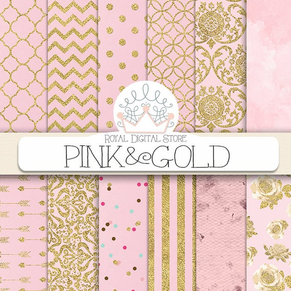 Pink Digital Paper Pink And Gold With Pink Background Pink