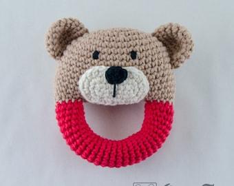 Teddy Bear Rattle  - PDF Crochet Pattern -  Instant Download - Animal Rattle Crochet Nursery Baby  Shower