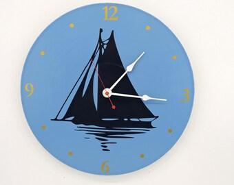 Sail Boat Wall Clock Blue