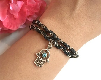 hamsa hand bracelet- evil eye charm braided bracelet, women's gift - handmade gift - hand of fatima jewelry - friendship bracelet - bohemian