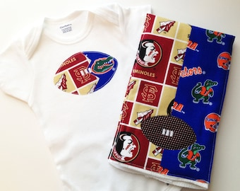 House Divided Football Bodysuit and Burp Cloth - FSU / UF / UM / Ga - Football Baby - Gators Seminoles Bulldogs Hurricanes Florida State