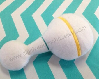 Baby Rattle Stuffie Softie Embroidery ITH In The Hoop Design