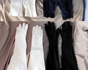 Vintage Lot of 4 Pair Mid-Century Cloth Gloves - White Mid-Length, Black Elbow Length, White Wrist Length, Navy Blue Wrist Length.