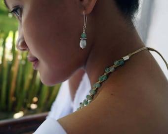 Freshwater Pearl Earrings, Aquamarine Earrings, Bridal Pearl Earrings, Bridesmaids Gift, 1 Pair