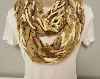 Brown & Tan Arm Knit Infinity Scarf