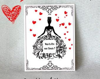1 CARTE  à gratter personnalisée mariage témoin homme femme annonce demande ticket cadeau original