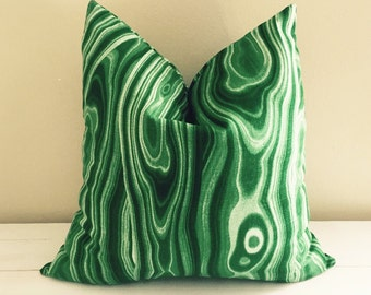 Emerald Green Malachite Robert Allen Malakos Pillow Cover // 17 x 17