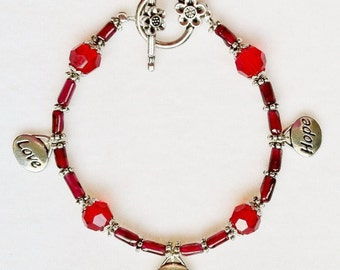 Love, Courage and Hope Charm Bracelet with Genuine Garnet and Flower Clasp