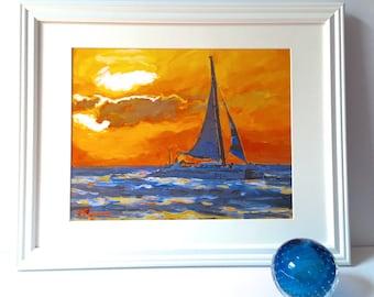 Caribbean Sunset Painting, Island Fine Art Print, Aruba Yellow Orange Sunset, Tropical Painting by Gwen Meyerson