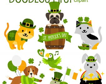 Lucky Pet Friends Digital Clip Art for Scrapbooking Card Making Cupcake Toppers Paper Crafts