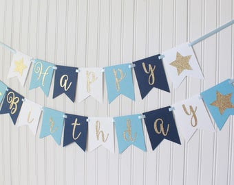 Gold, White, Blue, Navy Ombre Star Happy Birthday Banner/ Girl Birthday/ Prince Birthday/ Custom Name/ Personalized, Cursive, baby boy