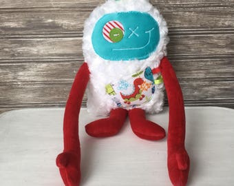 Soft toy, Hug Monster with ribbons for boy, unique plush, aqua blue and red with dinosaur pocket, stuffed toys, baby gift, ready to go