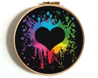 Heart Cross Stitch Pattern Colorful Rainbow Embroidery Love Counted cross stitch Chart Wedding Printable PDF Funny Easy Modern cross stitch
