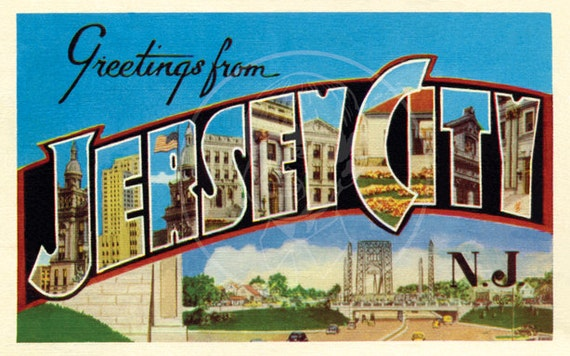 Greetings from jersey city 10x16 gicle canvas print of m4hsunfo