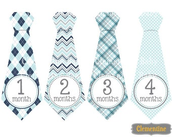 Monthly Baby Stickers, boy baby month stickers, tie monthly stickers - Tyler tie
