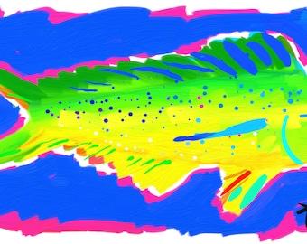 Art Print 11x14 Dolphin Fish Mahi Mahi by artist Kelly Tracht, Art Poster Fish Art Florida Art Coastal Art Palm Beach Regency, Item #2A