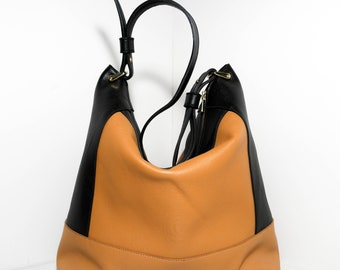 Tote bag MELEN CNCa18, camel and black cowhide leather.
