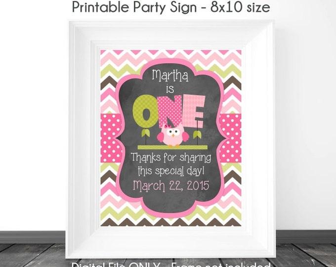Owl Birthday Sign, Chalkboard Birthday Sign, Owl 1st Birthday Chalkboard Printable Sign, Custom 1st Birthday Sign, 8x10, YOU print
