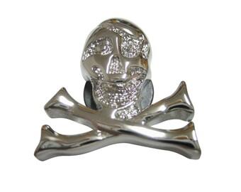 Silver Toned Shiny Skull Cross Bones Pendant Magnet