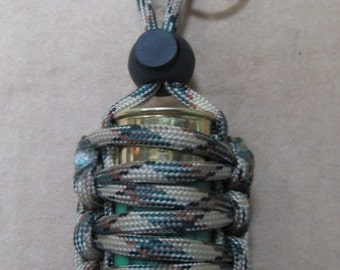 Paracord Wrapped Shotgun Cartridge Survival Container + Lock Loop & keyring - Camo - RC ITALY